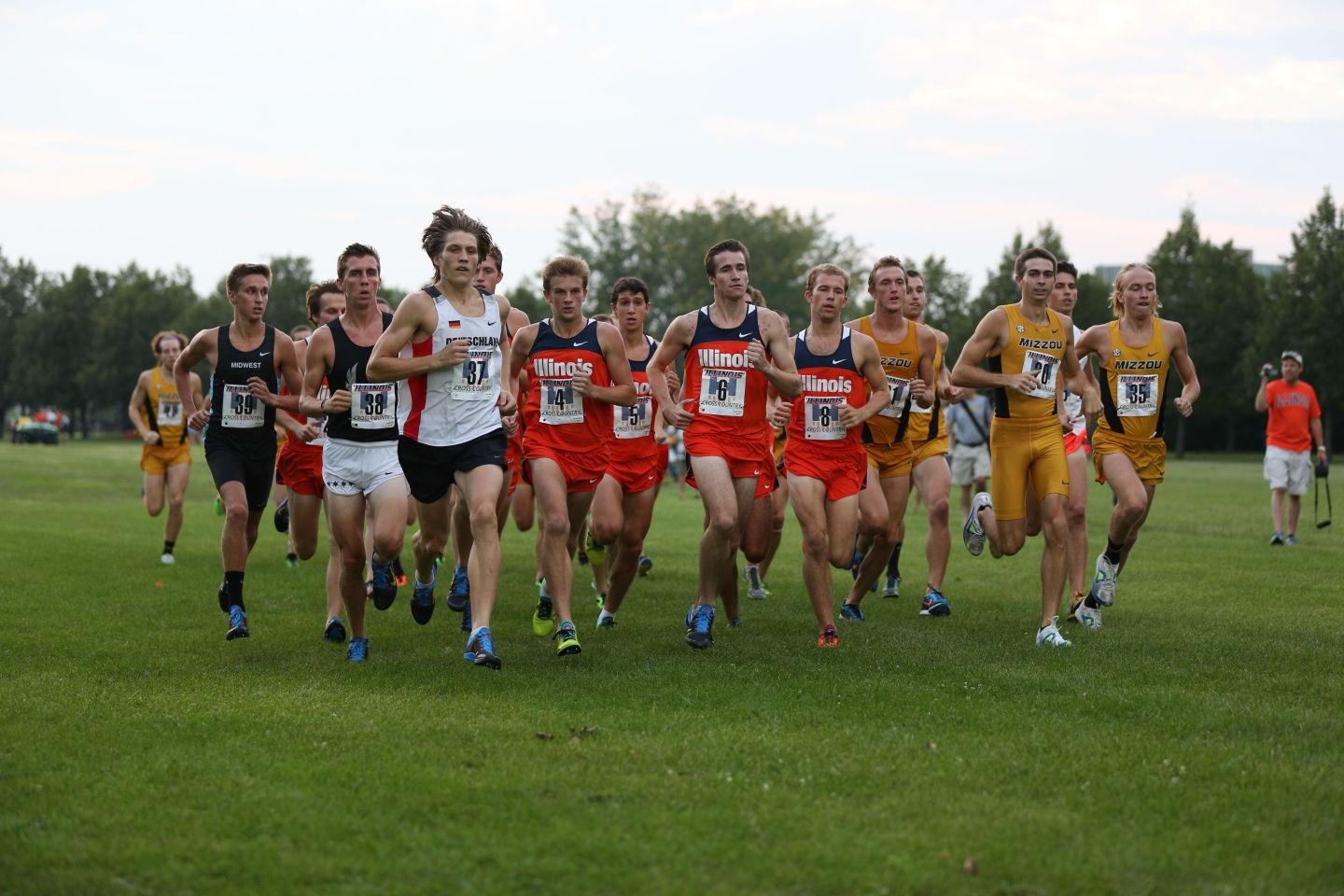 The Fighting Illini men's track and cross country team start their race during the Illini Challenge at the UI Arboretum on Aug. 29.