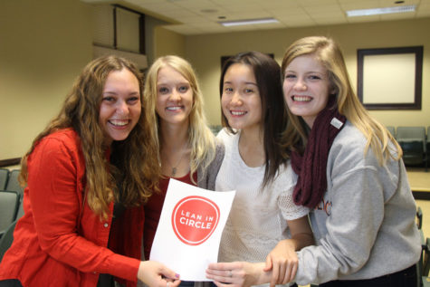 Lean In RSO members (left to right) Hannah Schlacter, Kasey Koronkowski, Joanna Xiong and Katelyn Shanahan pose during the campus chapter's first meeting on Oct. 14.