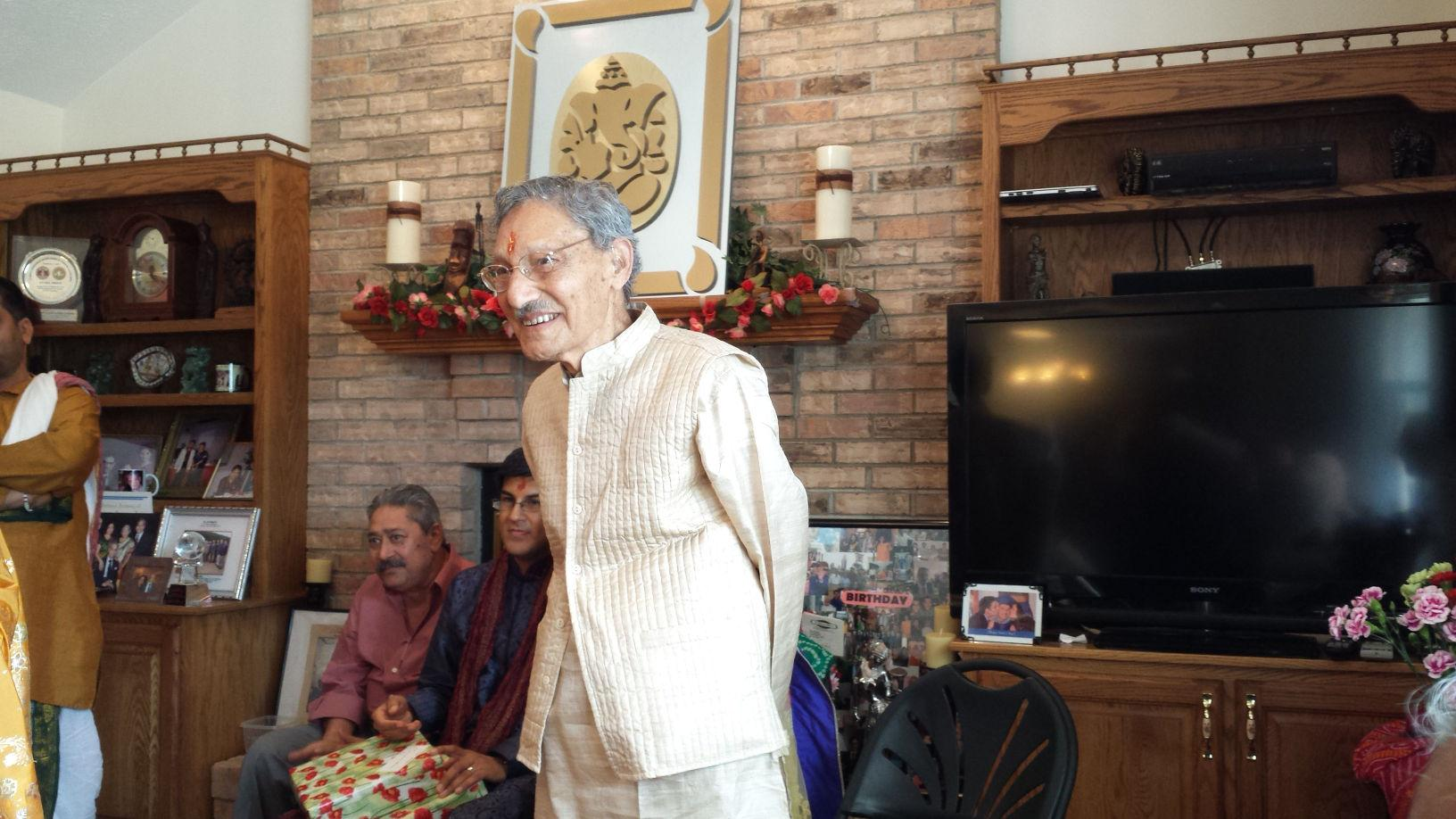 Janardan Kukreti, former University professor of veterinary medicine and Champaign resident, celebrates his 102nd birthday in his son's house on Saturday.