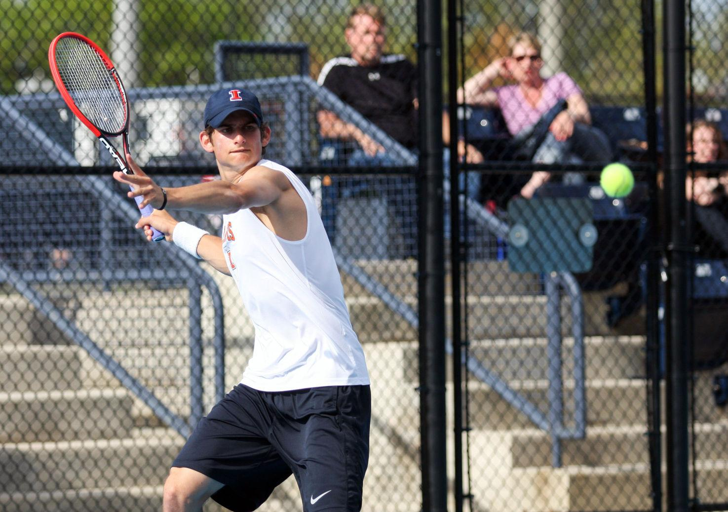 lllinois' Jared Hiltzik prepares to return the ball during the first round of NCAA Tennis Regionals against Ball State University at Khan Outdoor Tennis Complex on May 9, 2014.