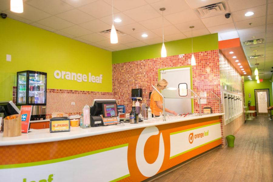 Kristy+Theisen%2C+sophomore+in+Education%2C+finds+part-time+employment+at+Orange+Leaf%2C+a+vibrant%2C+new+frozen+yogurt+franchise.