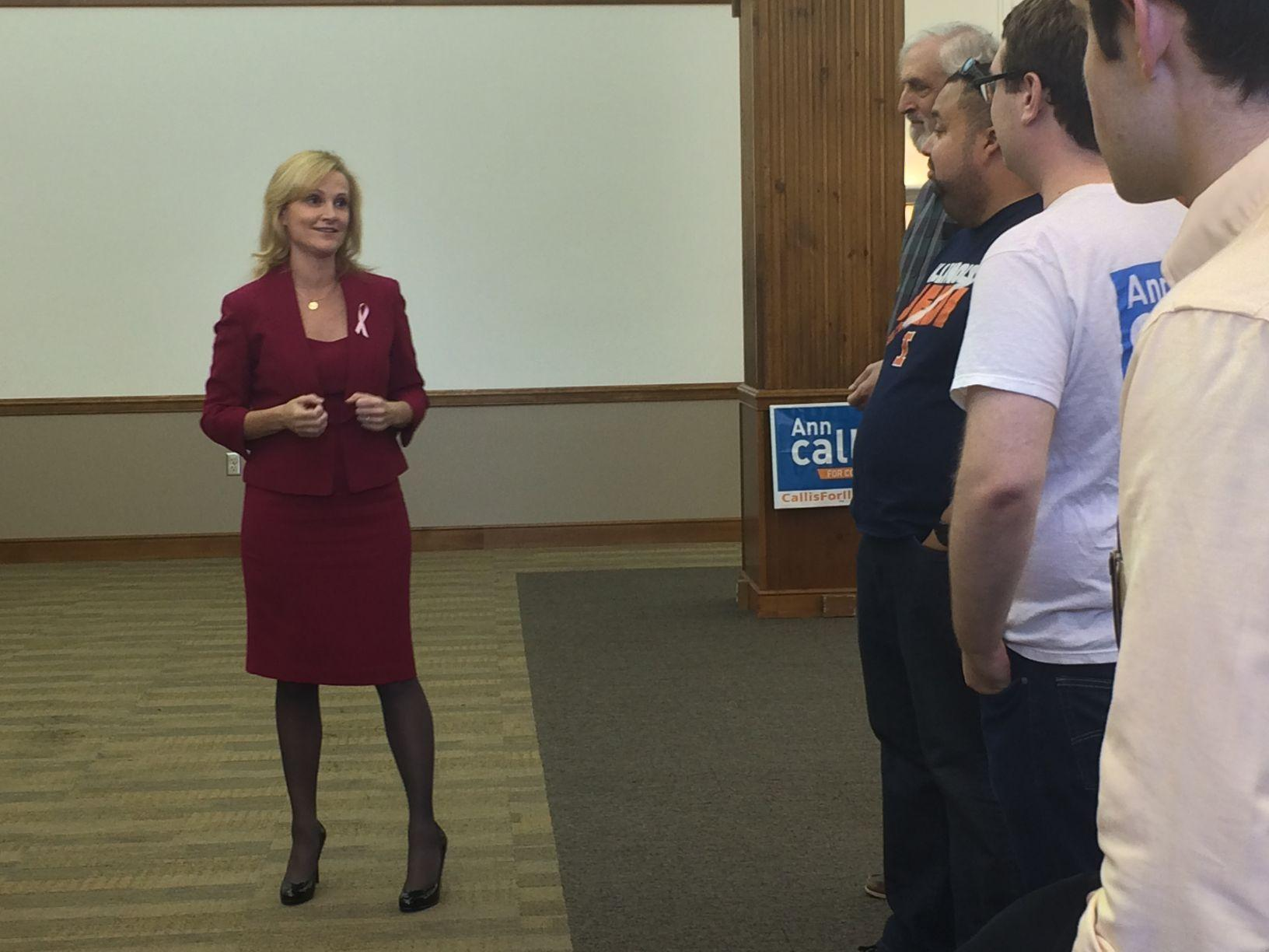 Ann Callis, Democratic congressional candiate for the 13th District, spoke to student supporters at a rally in the Illini Union Sunday on how to encourage people to vote in the upcoming Nov. 4 Midterm elections.