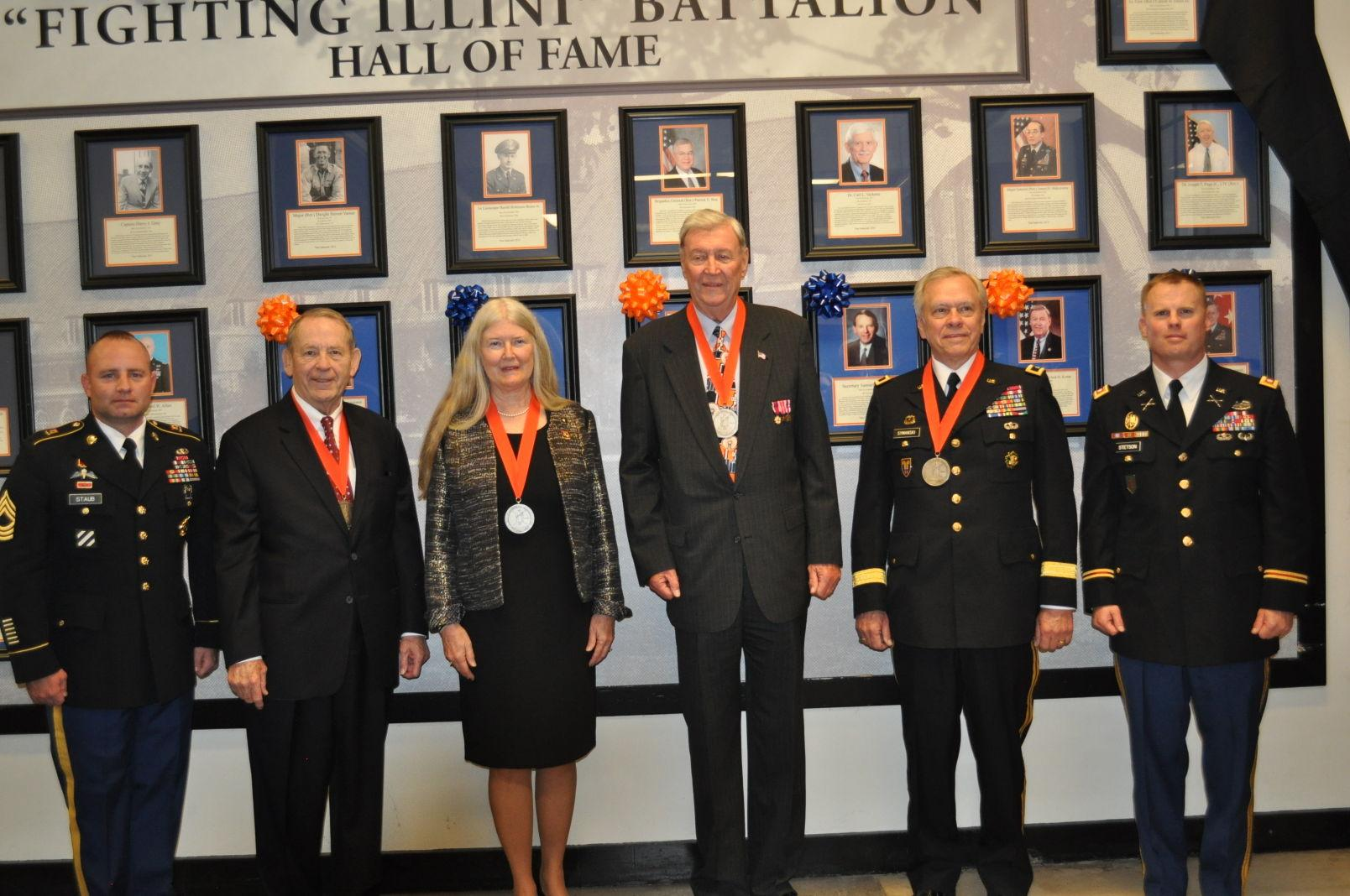 Four University ROTC alumni being awarded their medals at the 2014 Hall of Fame ceremony.