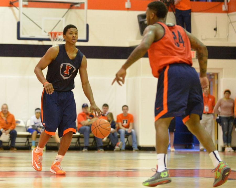 Rice, Hill top scorers for Illini in 'All In' scrimmage at Ubben Basketball Complex on Sunday.