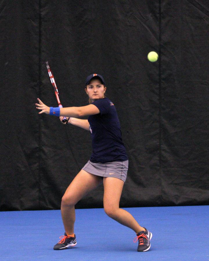 Illinois' Melissa Kopinski prepares to swing during the Midwest Tennis Regionals at Atkins Tennis Center on Friday, October 17.