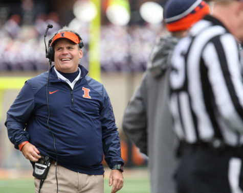 Illinois' Tim Beckman reacts during the reviewing of a play during the game against Purdue at Memorial Stadium on Saturday Oct. 4, 2014. The Illini lost 38-27.