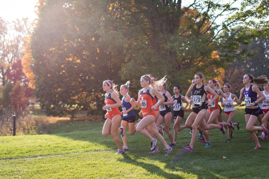 The Illinois women's cross country team starts strong at the Illini Open 2014 at the Arborteum on Oct. 25.