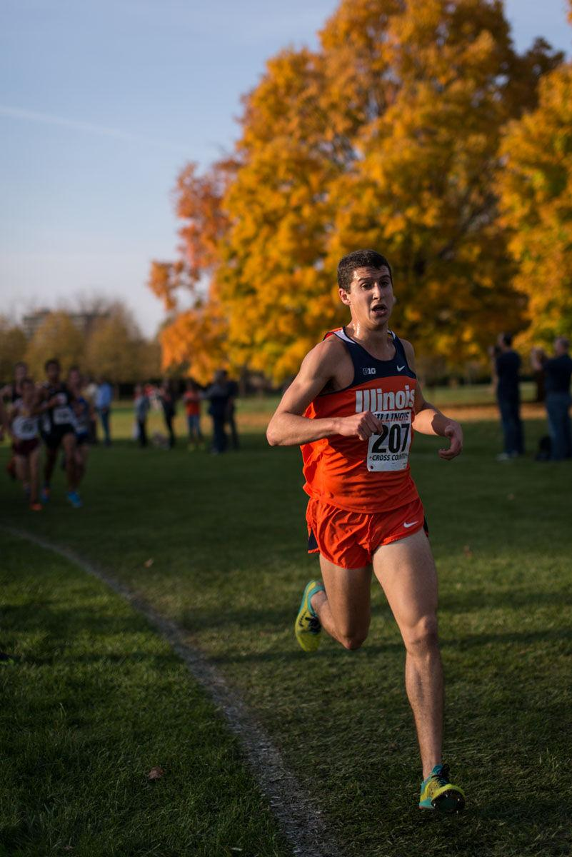 Illinois' Alex Gold (207), freshman, keeps a brisk pace at the Illini Open 2014 at the Arborteum on October 25th.