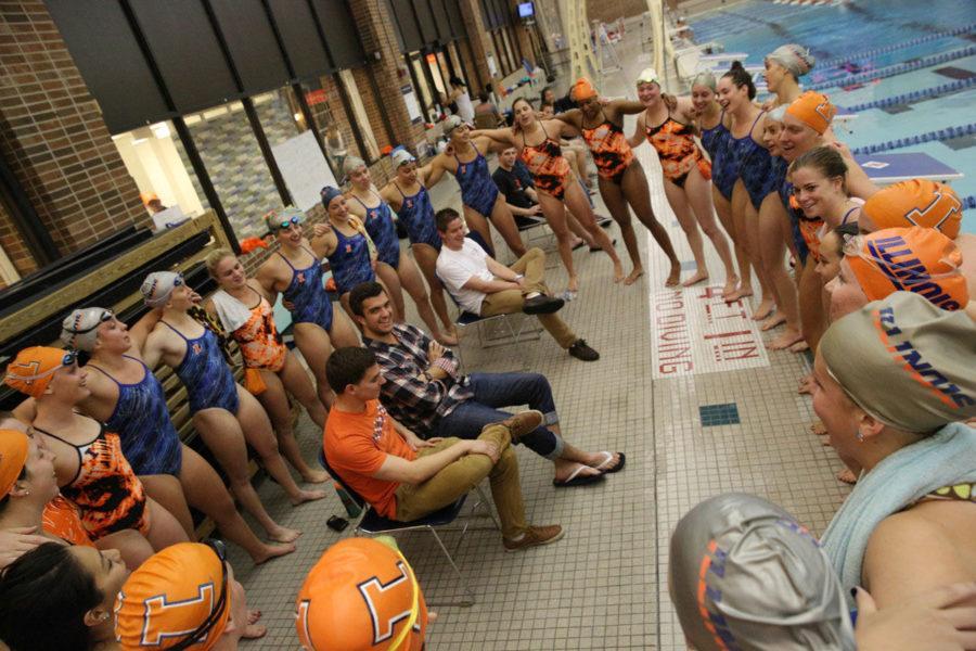 The+Fighting+Illini+Swimming+and+Diving+come+together+after+the+Orange+and+Blue+Exhibition+meet+at+the+ARC%2C+on+Friday%2C+Oct.+3%2C+2014.+The+Orange+Team+won+125-97.