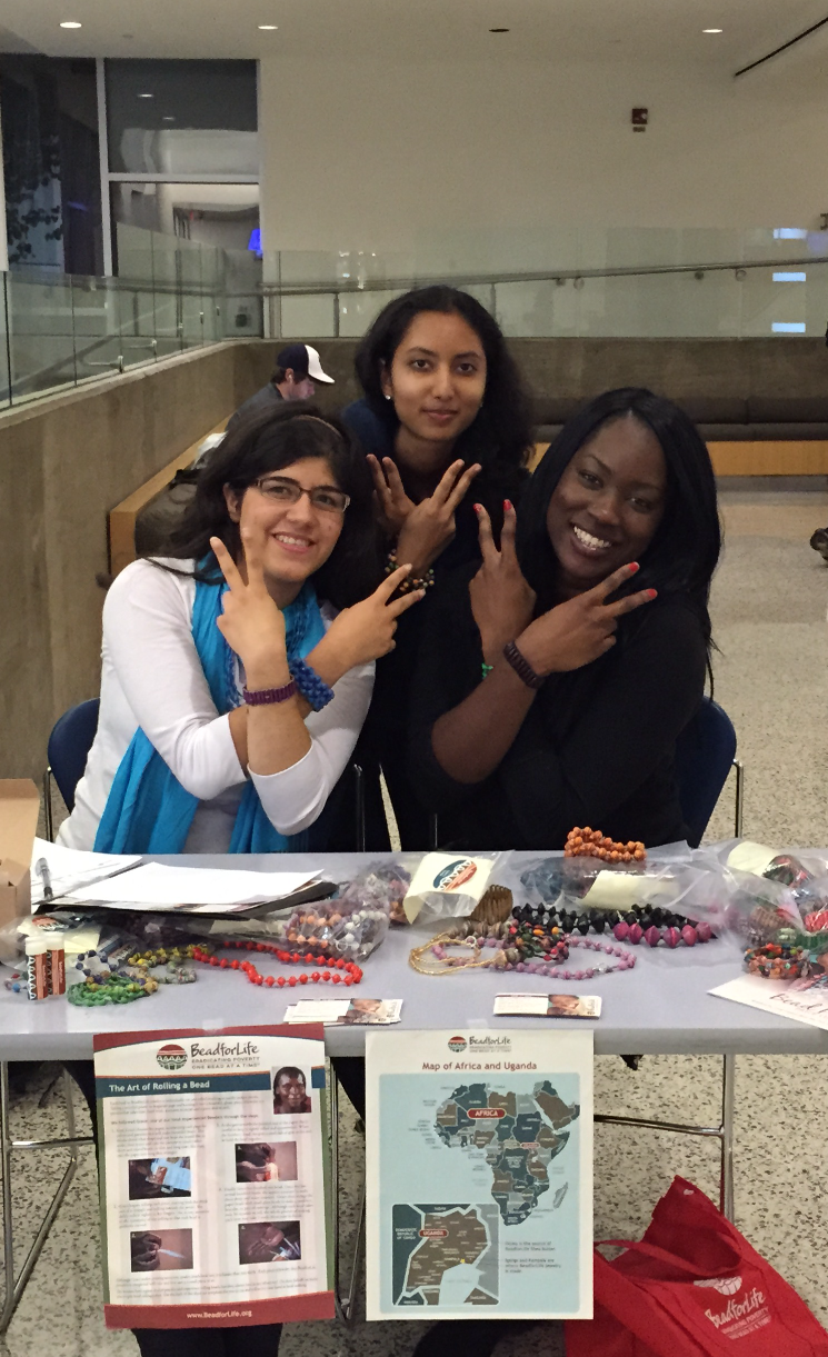 Members of UNICEF UIUC sell BeadForLife jewelry in PAR's lobby during their first sale in early October.