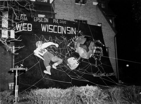 "The Alpha Epsilon Phi House's 1954 Homecoming decoration. The decoration urges Illinois to ""Web Wisconsin."""