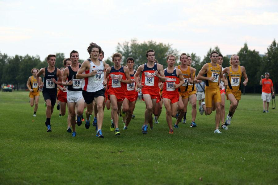 The Fighting Illini mean's track and cross country team start their race during the Illini Challenge at the UI Arboretum on Aug. 29, 2014. The women's cross country placed second with a combined total of 31 points.
