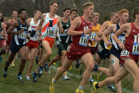 Illinois' Jannis Toepfer (159) runs in the Big Ten Championships this weekend in Iowa City, Iowa. Toepfer placed first for the Illini and 23rd overall.