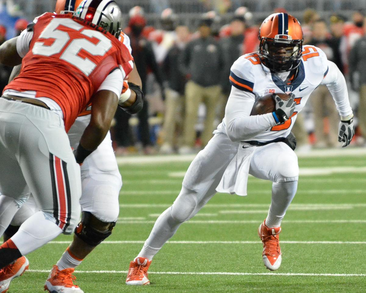 Illinois' Aaron Bailey (15) runs the ball during the game against Ohio State at Ohio Stadium in Columbus, Ohio on Saturday, Nov. 1, 2014. The Illini lost 55-14.
