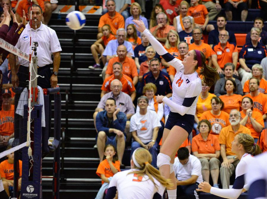 Illinois%E2%80%99+Liz+McMahon+spikes+the+ball+against+Minnesota+at+Huff+Hall+on+Oct.+1.+McMahon+and+her+fellow+seniors+will+play+in+their+final+home+game+at+Huff+on+Saturday.%C2%A0