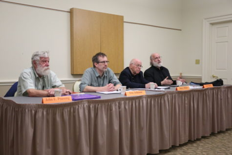 Left to right, John Prussing, Eric Johnson, Harry Hilton, and Cary Nelson speak about academic freedom policies and procedures.