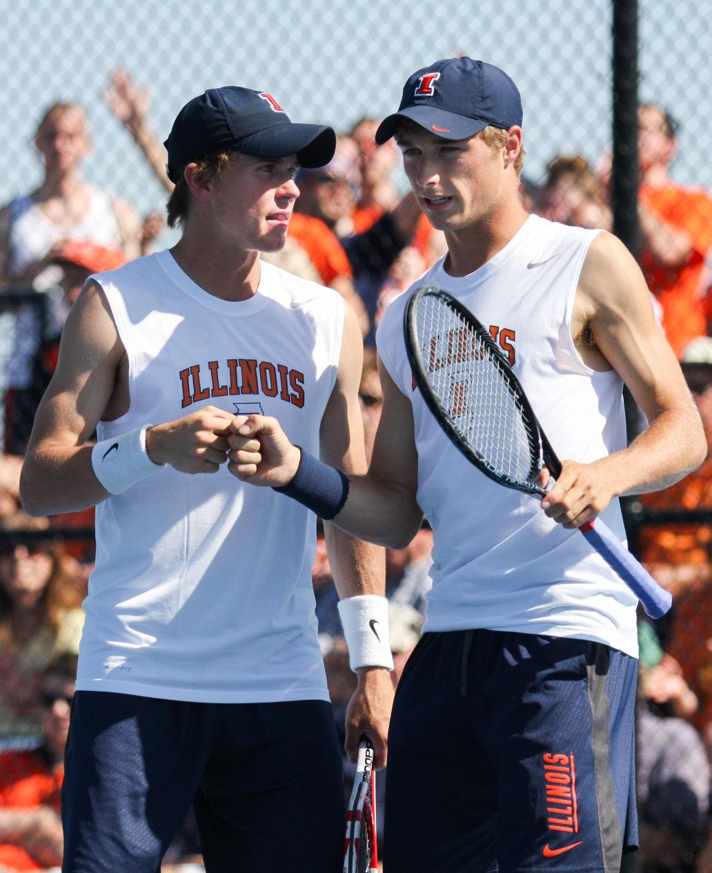 Illinois' Tim Kopinski and Ross Guignon briefly celebrate during the NCAA Tennis Regionals against the University of Memphis at Khan Outdoor Tennis Complex on Saturday, May 10, 2014. The duo took second at the ITA Intercollegiate Indoor National Championships this past weekend.