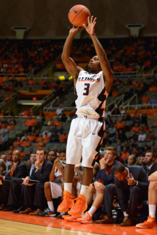 Illinois' Ahmad Starks shoots a three-pointer during the exhibition game against Quincy at State Farm Center on Friday.