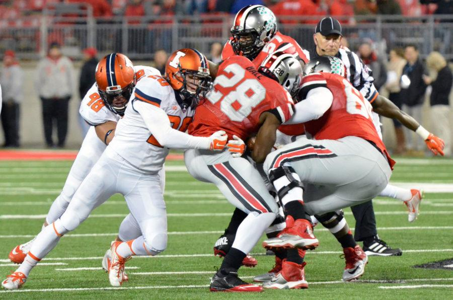Illinois%27+Clayton+Fejedelem+tackles+Ohio+State%27s+Warren+Ball+during+the+game+at+Ohio+Stadium+in+Columbus%2C+Ohio+on+Nov.+1.+The+Illini+lost+55-14.