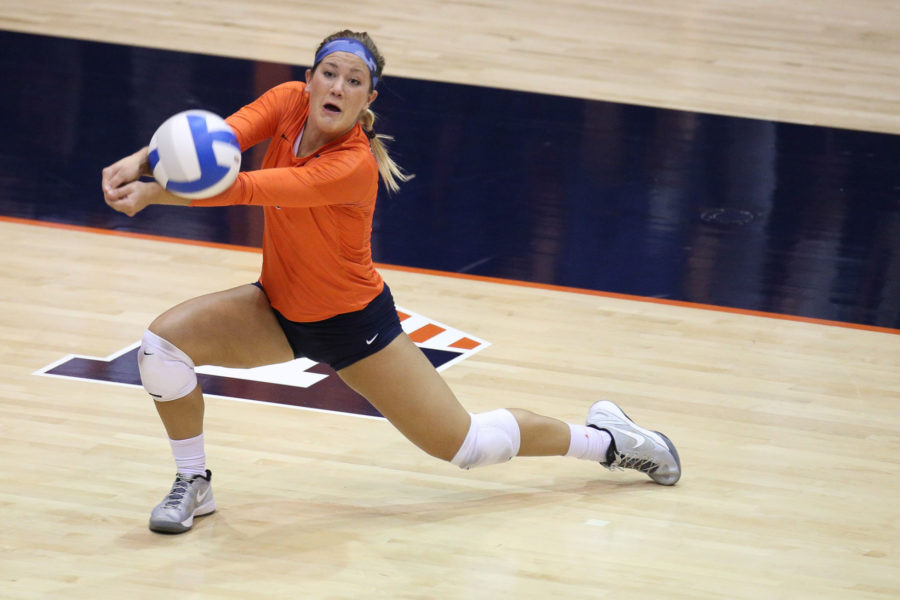 Illinois%E2%80%99+Brandi+Donnelly+digs+the+ball+during+the+game+against+Purdue+at+George+Huff+Hall+on+Oct.+25.+