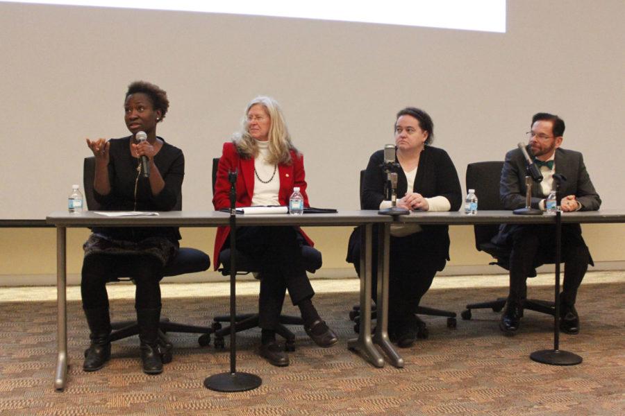 University+alumnus+Mabinty+Tarawille+speaks+during+the+Ebola+101+Teach-In+on+Monday.