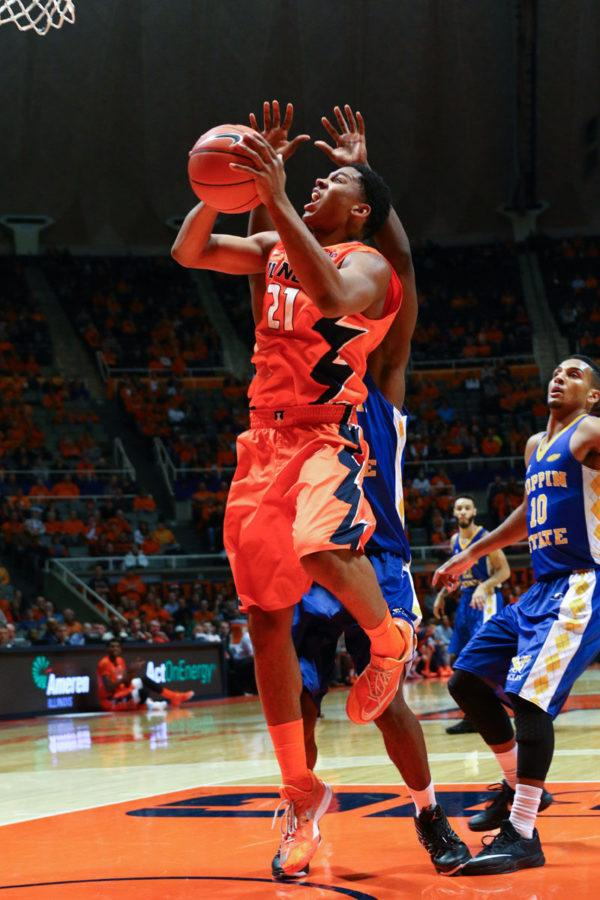 Illinois%E2%80%99+Malcolm+Hill+takes+a+shot+during+the+game+against+Coppin+State+at+State+Farm+Center+on+Sunday.+The+Illini+won+114+to+56%2C+with+Hill+shooting+66.6+percent+with+13+points.