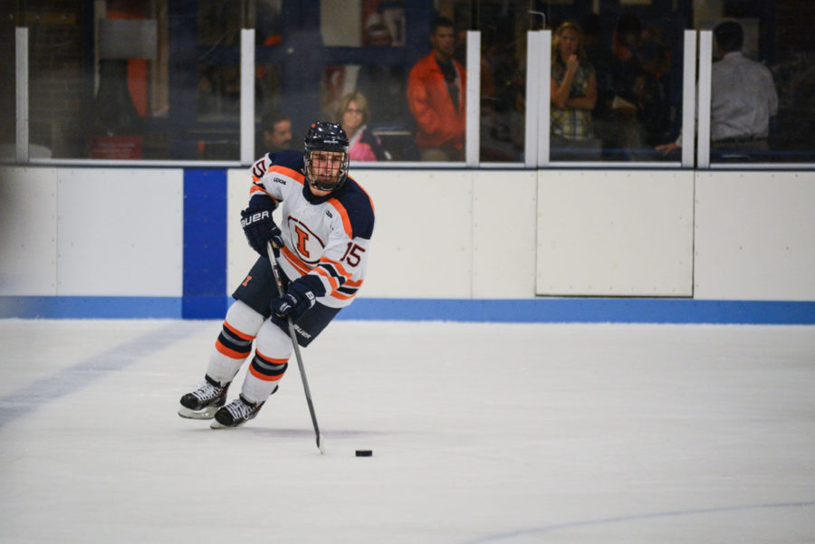 Illinois%E2%80%99+Eric+Cruickshank+%2815%29+maneuvers+himself+towards+the+goal+at+the+Illinois+Ice+Arena+on+Sept.+27.+The+Illini+were+swept+in+two+games+against+Lindenwood+this+past+weekend.