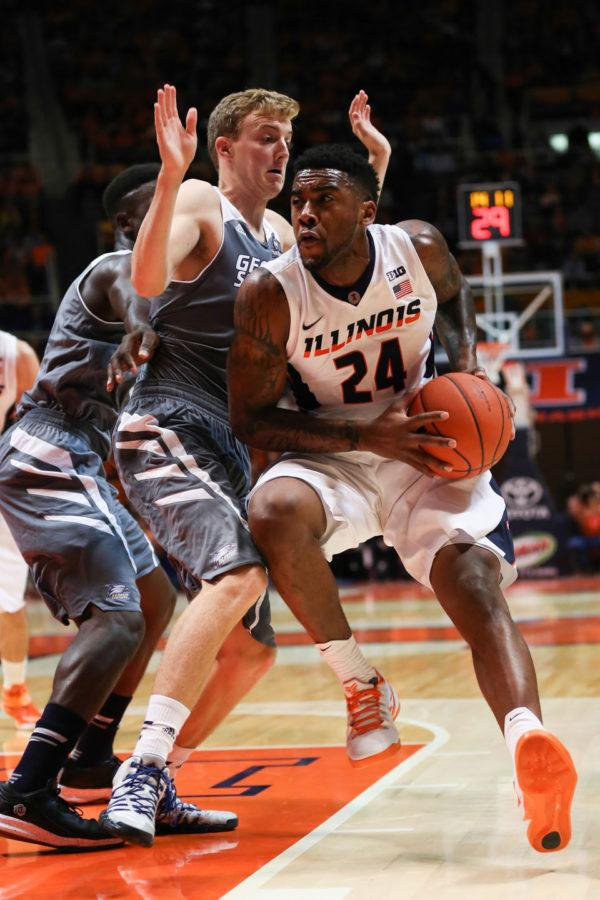 Illinois' Rayvonte Rice (24) drives to the basket during the game against Georgia Southern at State Farm Center, on Friday, Nov. 14, 2014. The Illini won 80-71.