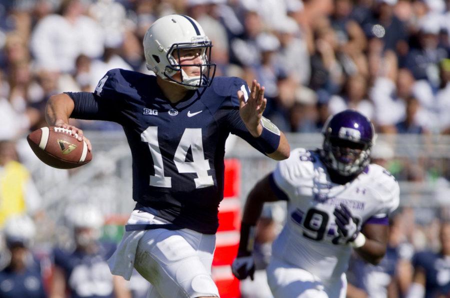 Penn State quarterback Christian Hackenberg looks for an open teammate against Northwestern at Beaver Stadium in University Park, Pa., on Sept. 27.