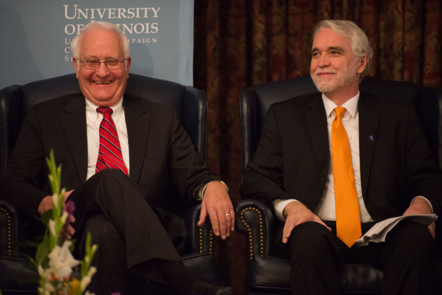 Incumbent University President Robert Easter shares a laugh with President-elect Timothy Killeen during a press conference to introduce Killeen at the Illini Union on Wednesday.