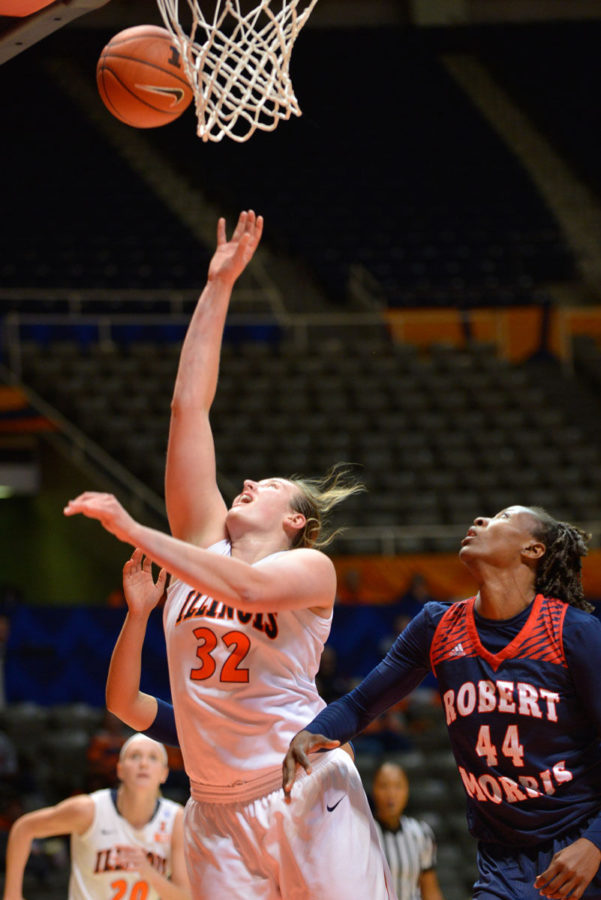Chatrice White shoots a layup during the game against Robert Morris at State Farm Center on Tuesday. The Illini won 66-48, the first time they've won consecutively in almost a year.