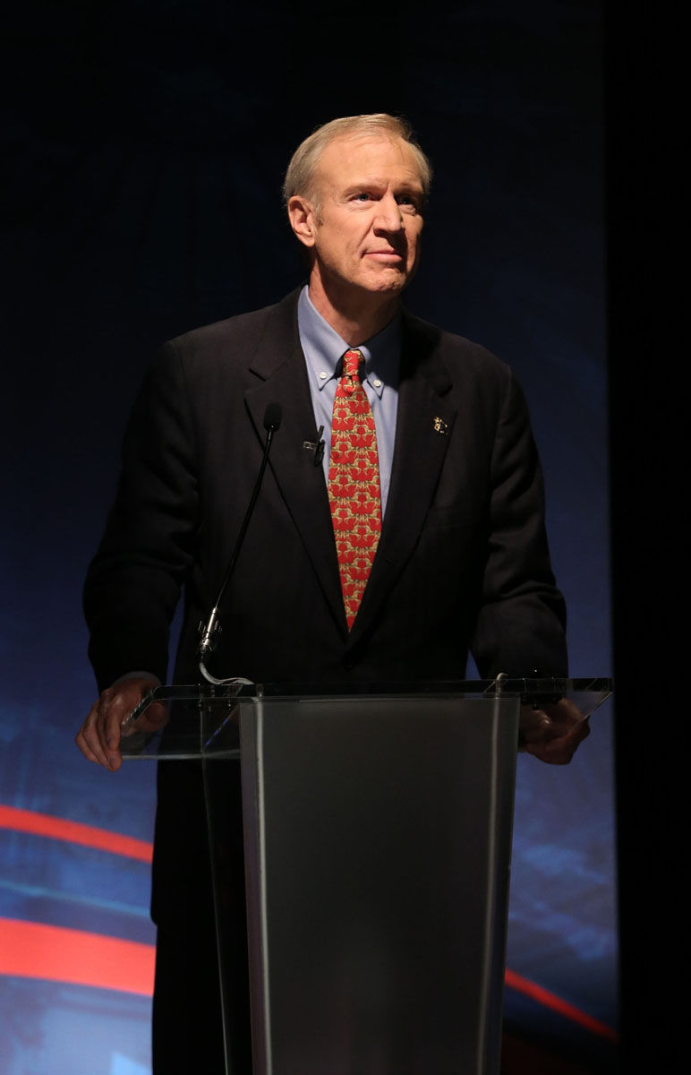 Bruce Rauner, a Republican candidate for governor of Illinois, speaks at a public form at the University of Chicago on March 4, 2014.