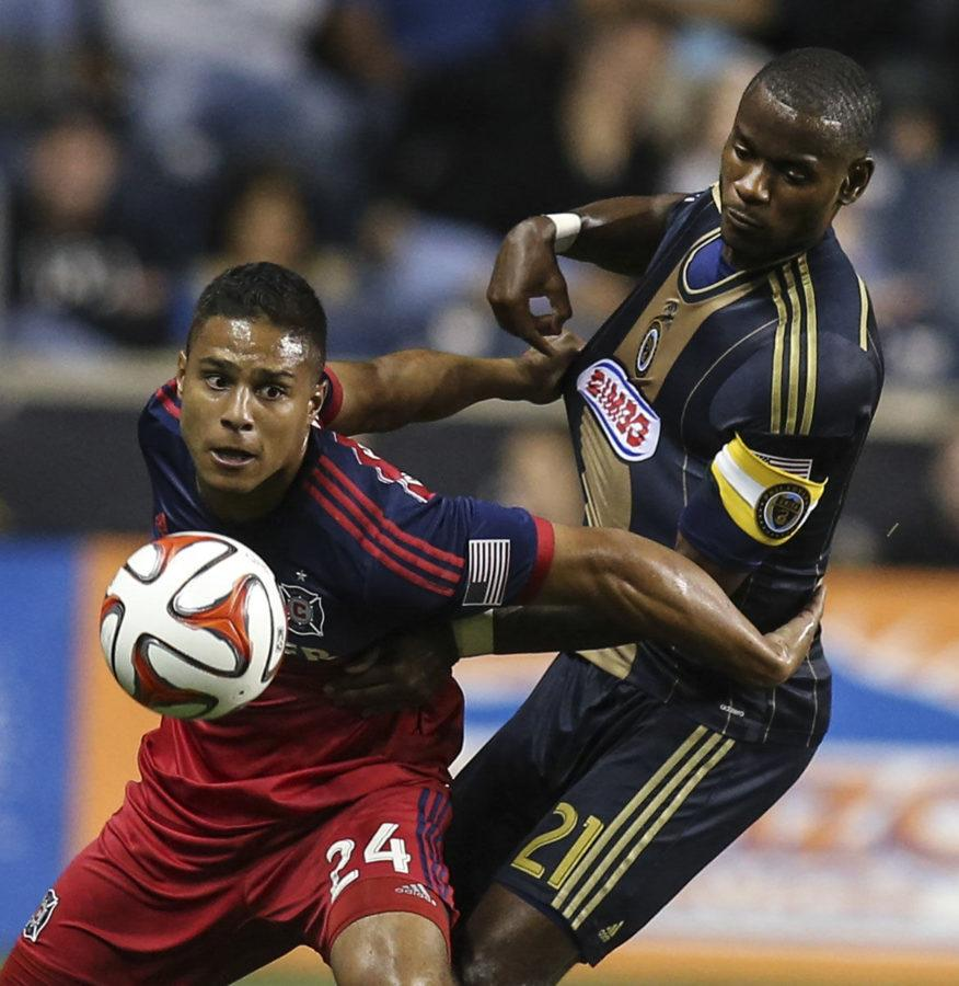 Philadelphia+Union+midfielder+Maurice+Edu+%2821%29+battles+with+Chicago+Fire+forward+Quincy+Amarikwa+%2824%29+during+the+first+half+at+PPL+Park+in+Chester%2C+Pa.%2C+on+Oct.+2.