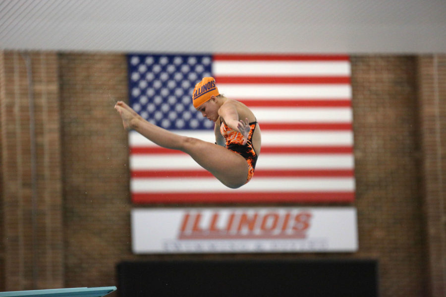 Illinois Raquel Corniuk dives from the 3 meter board during the Orange and Blue Exhibition on Oct. 3. Corniuk, a freshman, is one of the teams highest scoring divers.