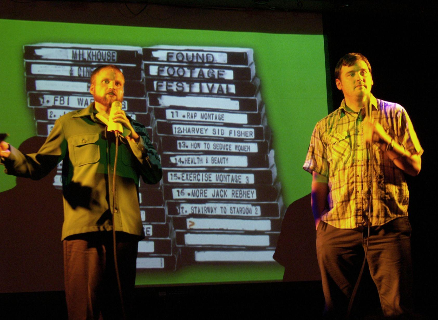 The hosts, Nick Prueher and Joe Pickett, open the Found Footage Festival, where they share VHS videos they find and collect.