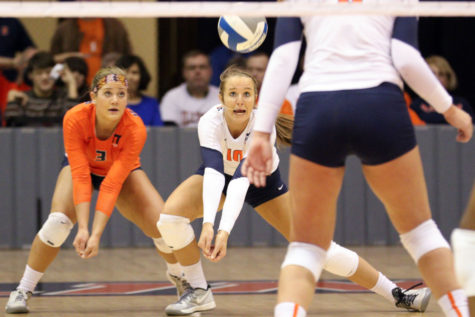 Illinois' Danielle Davis, 10, goes for a pass during the NCAA Second Round vs. Iowa State at Huff Hall on Saturday. Illinois won 3-0. Illinois will play Florida on Friday in Ames, Iowa.