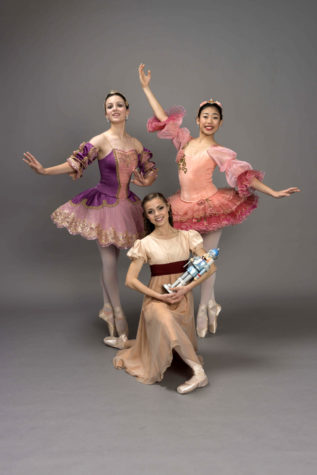 Taylor Feddersen, Ginny Martinez and Erisa Nakamura pose as their characters Sugar Plum Fairy, Clara and Rose Queen, respectively, for this year's production of
