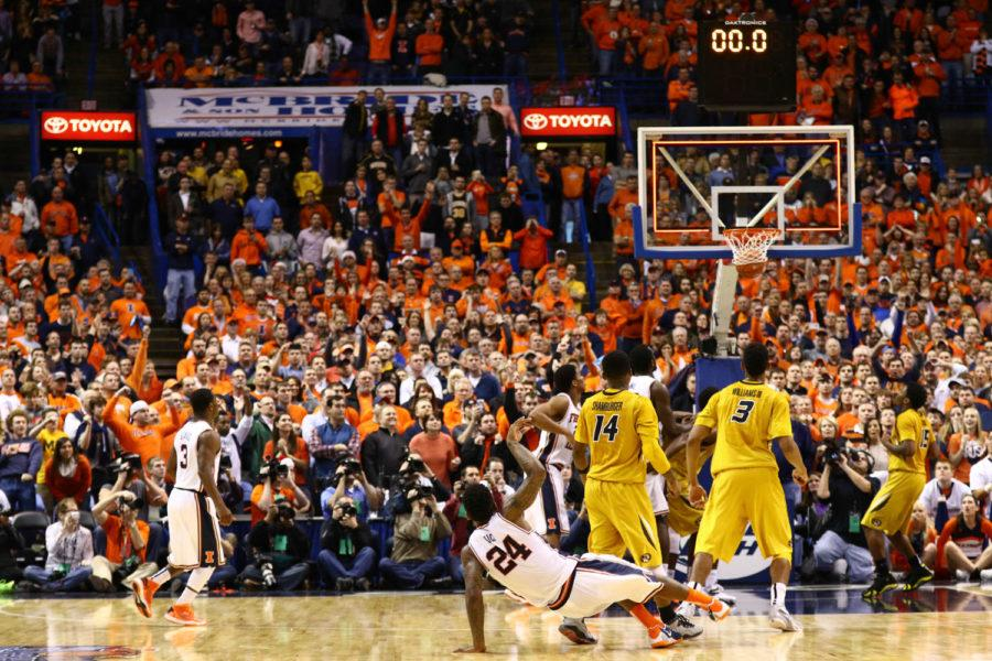 Illinois' Rayvonte Rice (24) takes the game-winning shot during the game against Missouri at Scottrade Center in St. Louis, Missouri on Dec.20, 2014. The Illini won 62-59.