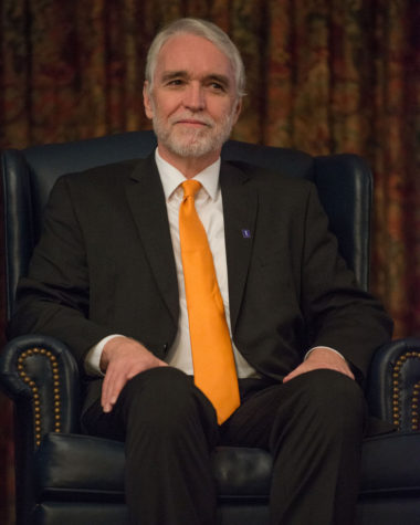 Timothy Killeen, president-elect, sits as he is introduced to campus at the Illini Union on Nov. 19.
