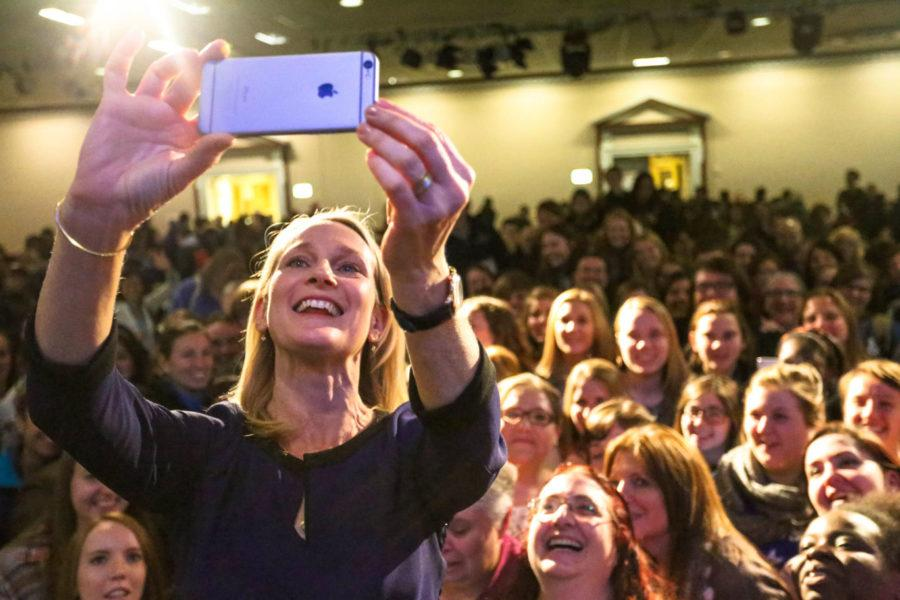 "Piper Kerman takes a selfie with the audience of the lecture on her book, ""Orange is the New Black: My Year in a Women's Prison"" at the Illini Union on Wednesday. Kerman's boook was adapted into the hit Netflix original series."