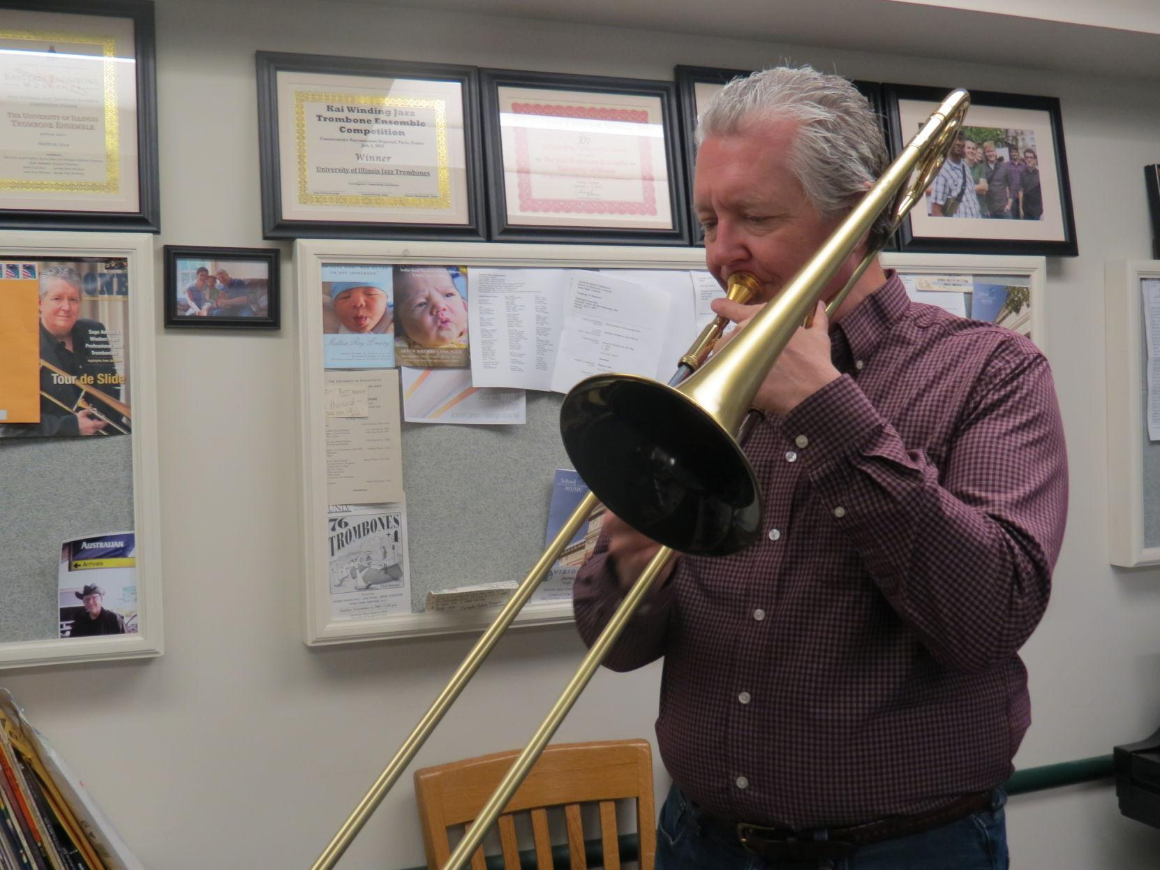Jim Pugh, professor of jazz studies, has had a career of playing and recording music, and touring with giants, including Woody Herman, Chick Corea, Steely Dan, Michael Jackson, Madonna, Pink Floyd and Frank Sinatra.