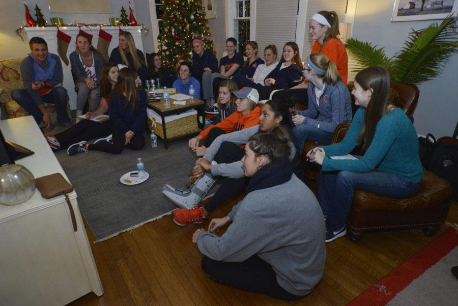 Illini volleyball watches the NCAA selection at head coach Kevin Hambly's house on Sunday. The Illini were seeded 11th.