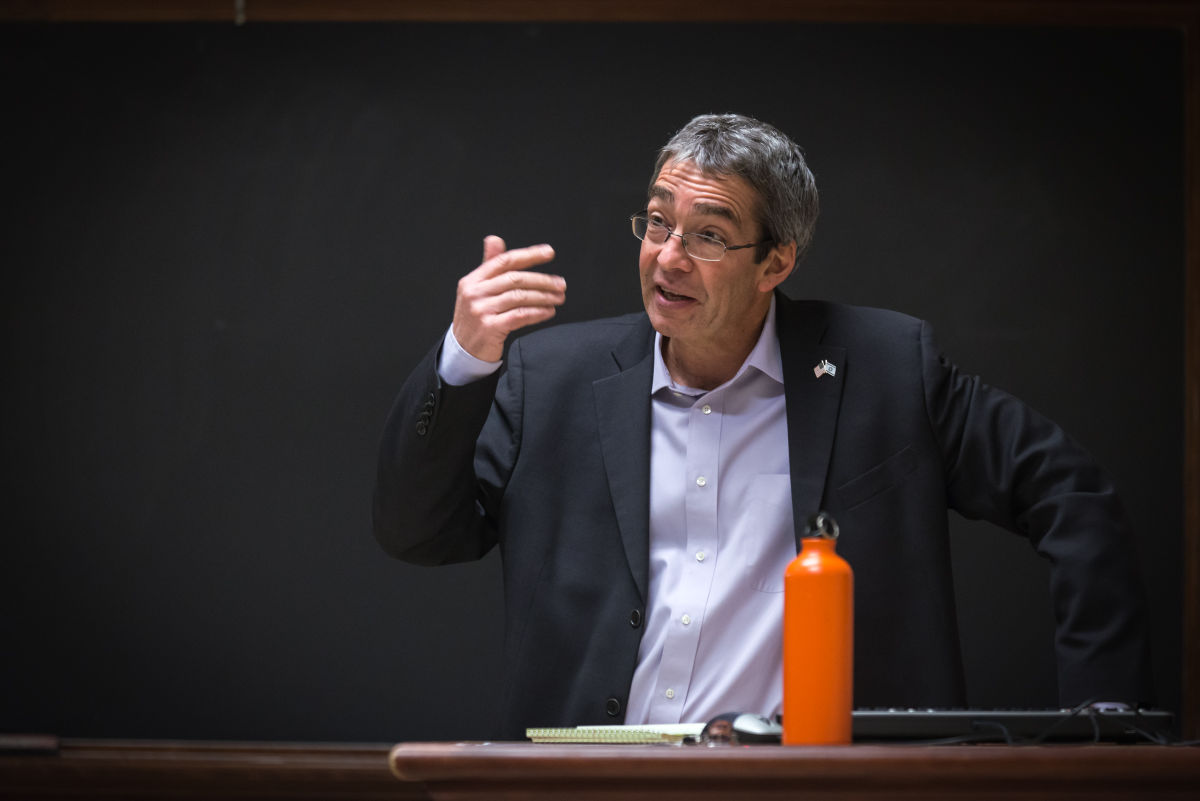 Roey Gilad (right), Consul General of Israel to the Midwest, gives a talk to students in regards to Israel's unique situation in the Middle East at the Architectural Building on Wednesday, December 3, 2014.