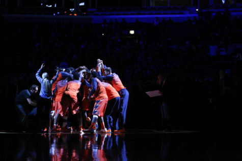 The Illini men's basketball team is introduced before the game against Oregon at United Center in Chicago on Saturday. The Illini have plenty of issues to address if they want to compete in Big Ten play, but the remaining nonconference matchups don't offer much chance for a resume-building win.