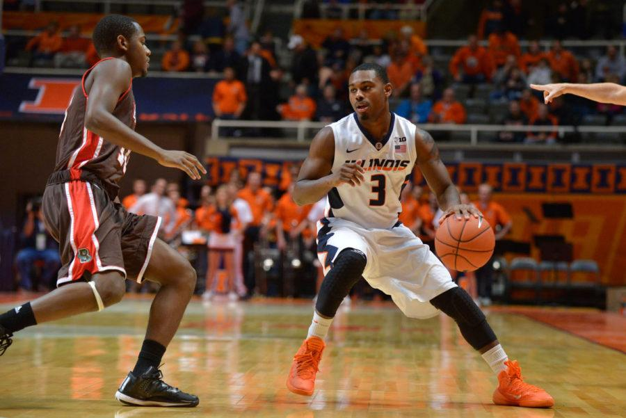 Illinois%27+Ahmad+Starks+looks+for+an+open+pass+during+the+game+against+Brown+at+State+Farm+Center+on+Nov.+24.+Starks+had+a+couple+of+rough+shooting+nights+since+the+Illini+last+played+in+Champaign.%C2%A0