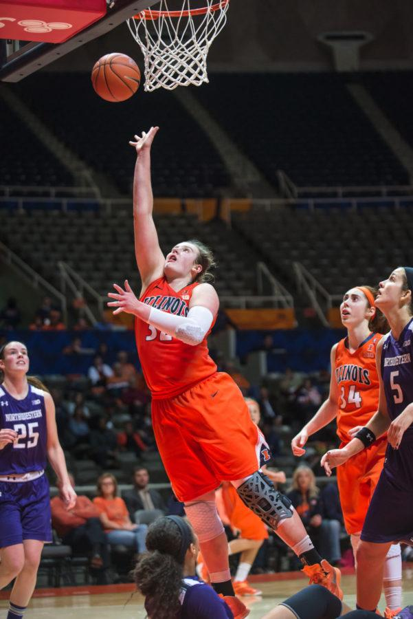 Illinois' Chatrice White attempts a layup during the game versus Northwestern at the State Farm Center on Thursday.