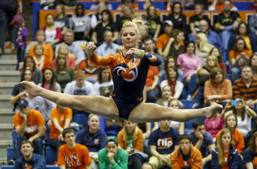 Illinois' Erin Buchanan competes her floor exercise routine during the Gym Jam at Huff Hall on Saturday, March 8, 2014.