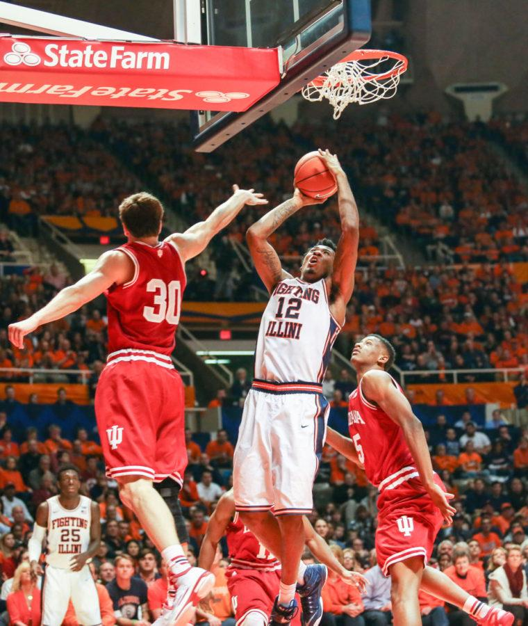 Illinois%27+Leron+Black+%2812%29+goes+up+for+a+shot+during+the+game+against+Indiana+at+StateFarm+Center+on+Sunday%2C+Jan.+18%2C+2015.+The+Illini+lost+80-74.
