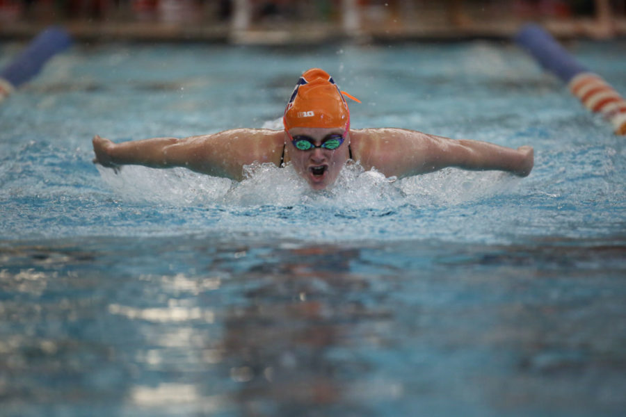Illinois' Samantha Stratford swims the 100-yard butterfly event during the meet against Nebraska at the ARC on Saturday. The Illini won 171-129.
