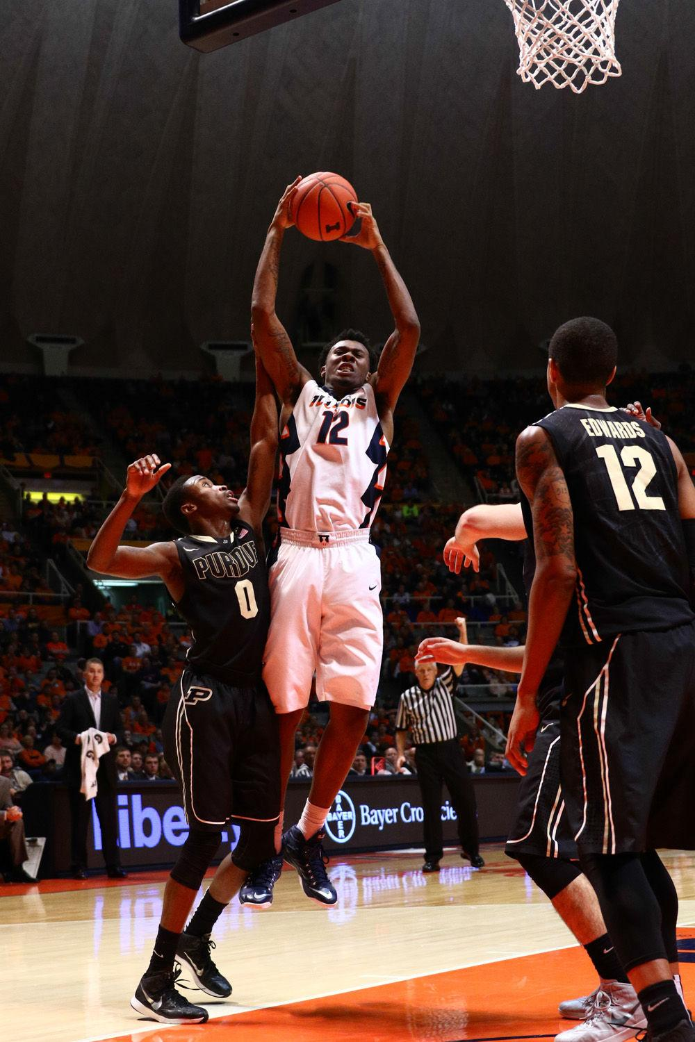 Illinois' Leron Black grabs the offensive rebound during the game against Purdue at State Farm Center on Jan. 21, 2015. The Illini won 66-57.